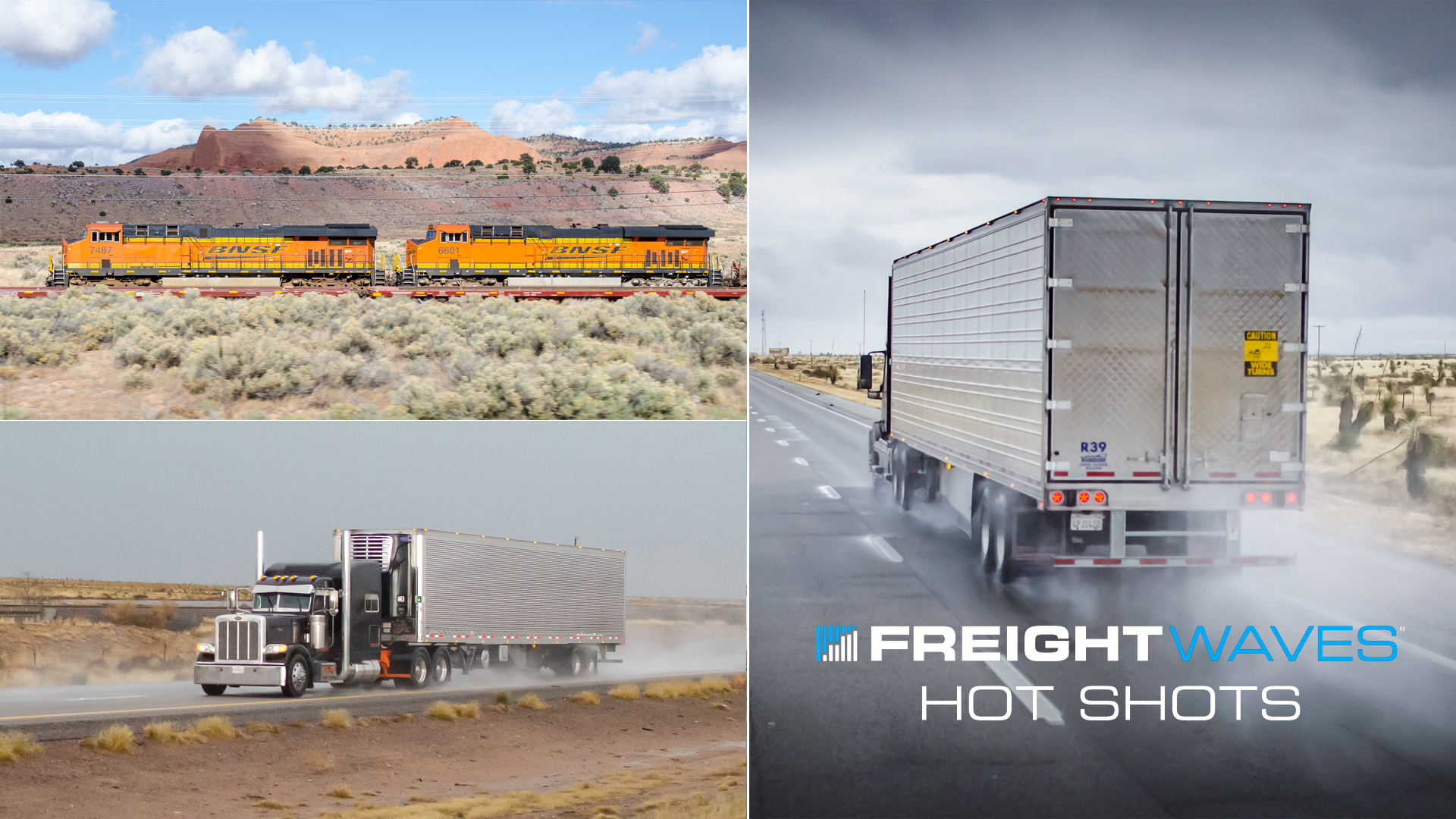 Photo montage of a BNSF train and tractor-trailers in rain.