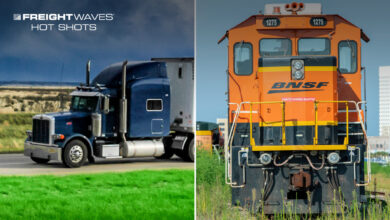Photo montage of a BNSF train, and a tractor-trailer with a dark storm cloud across the sky.