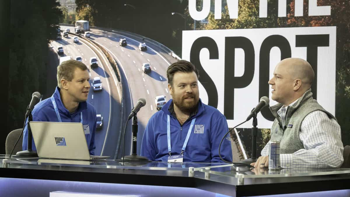 FreightWaves' Zach Strickland, J.P. Hampstead and Craig Fuller on the set of FreightWaves On the Spot. (Photo: FreightWaves staff