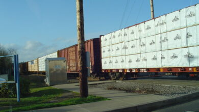 A photograph of a train rolling past a rail crossing.