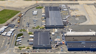 Overhead view of cargo terminals at Newark Liberty airport.