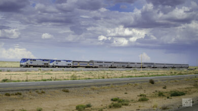 A photo of an Amtrak train travelling through a flat and grassy plain.