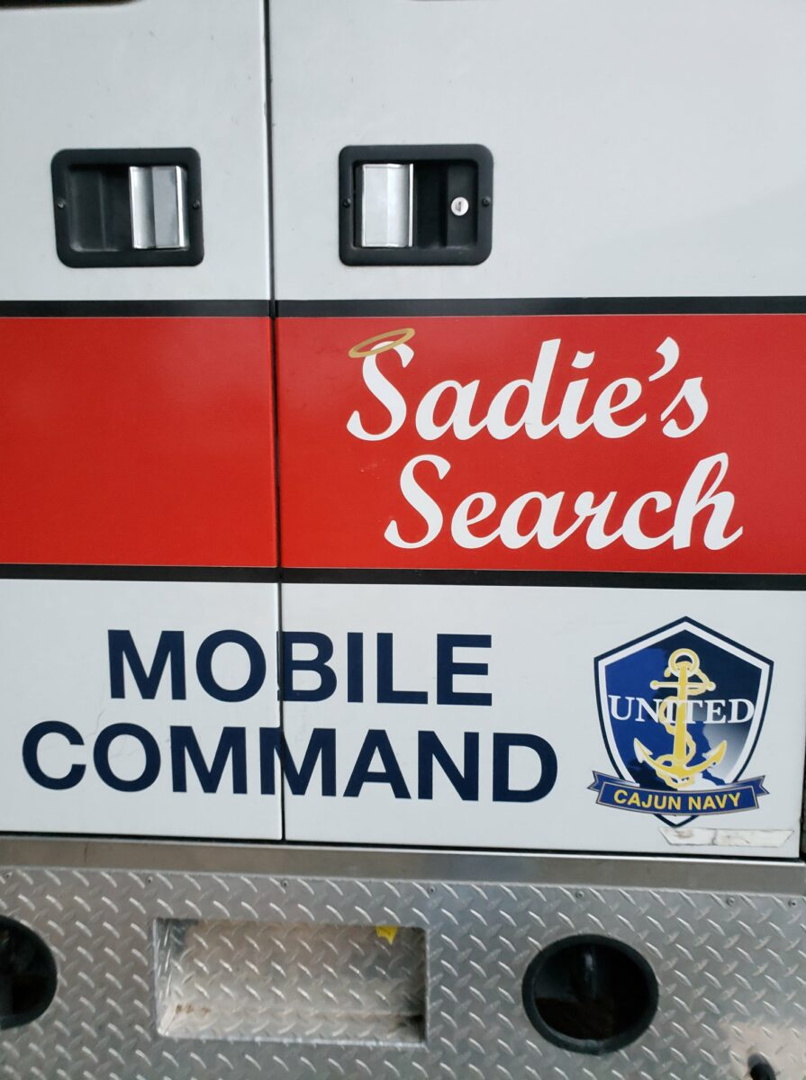 """The United Cajun Navy's Mobile Command vehicle. It is named """"Sadie's Search"""" in honor of Sadie Thibodeaux, a resident of Baton Rouge, Louisiana, who was reported missing on August 5, 2018. (Photo: Official UCN Facebook page)"""