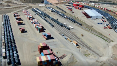 An aerial view of Ashcroft Terminal in British Columbia.