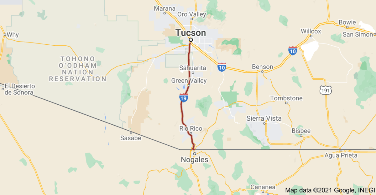 This map shows the route of Interstate 19, which is entirely within Arizona. (Map: Google Maps)