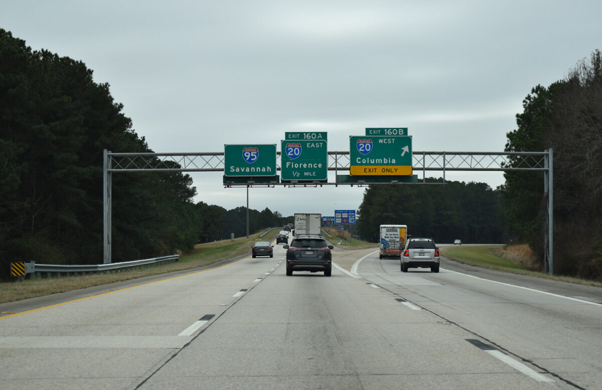 The junction of I-20 and I-95 in South Carolina. (Photo: interstate-guide.com)