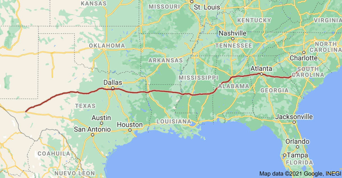 This Google Map shows the route of I-20. (Image: Google Maps)