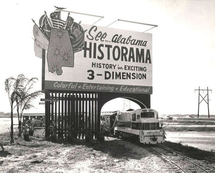 A billboard that includes a choo-choo. (Photo: Alabama Department of Archives and History)