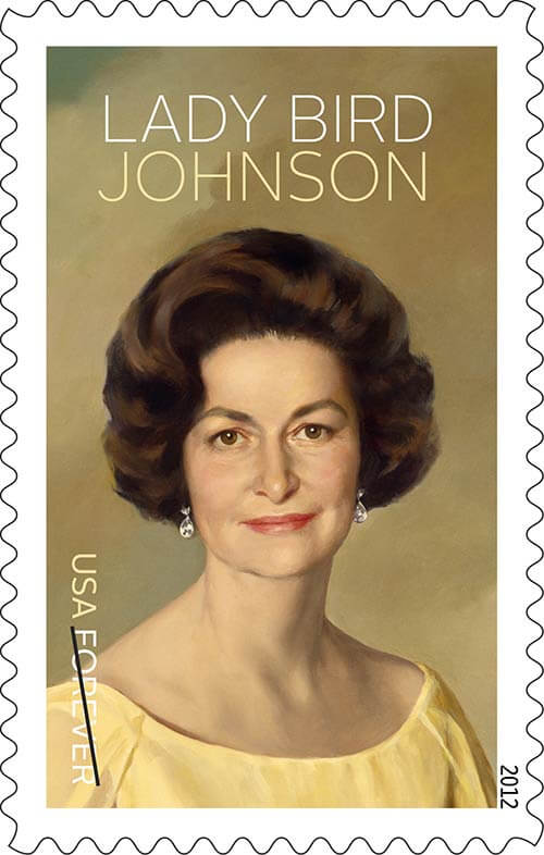 Lady Bird Johnson was honored on a U.S. stamp in 2012. (Photo: USPS)