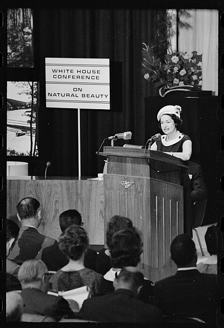 Lady Bird Johnson speaking at the White House Conference on Natural Beauty, which took place on May 25, 1965. (Photo: National Park Service)