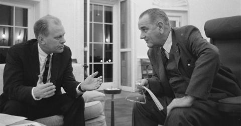 U.S. Rep. (and later President) Gerald Ford meets with President Johnson in the White House. (Photo: LBJtapes.org)