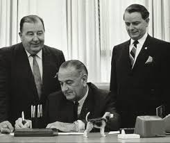 U.S. Senators Jennings Randolph (left) and Robert C. Byrd with President Johnson. (Photo: Robert C. Byrd Center for Congressional History and Education)