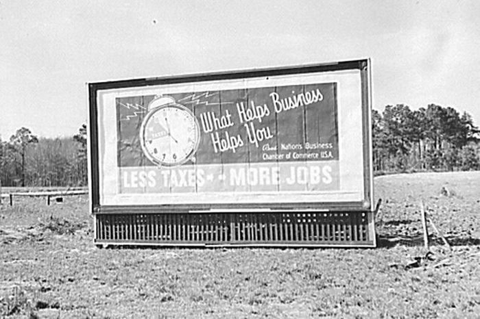 A timeless message! (Photo: Library of Congress) MESSAGE: Less taxes - more jobs