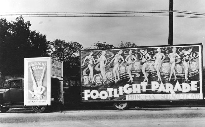 A rolling billboard for Footlight Parade, a 1933 movie that starred James Cagney, Joan Blondell, Ruby Keeler and Dick Powell! (Photo: Gadsden Public Library)