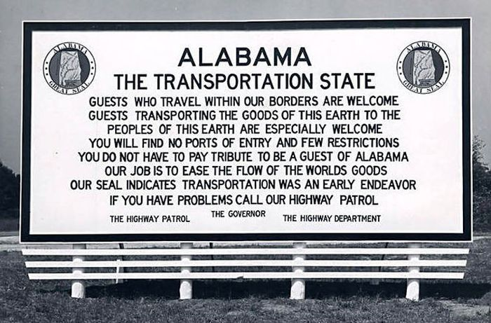 """Since FreightWaves is focused on transportation, logistics and freight, it seemed only fitting that this billboard that was posted in Alabama should be posted first. Alabama is one of the states in """"Freight Alley."""" (Photo: Alabama Department of Archives and History)"""