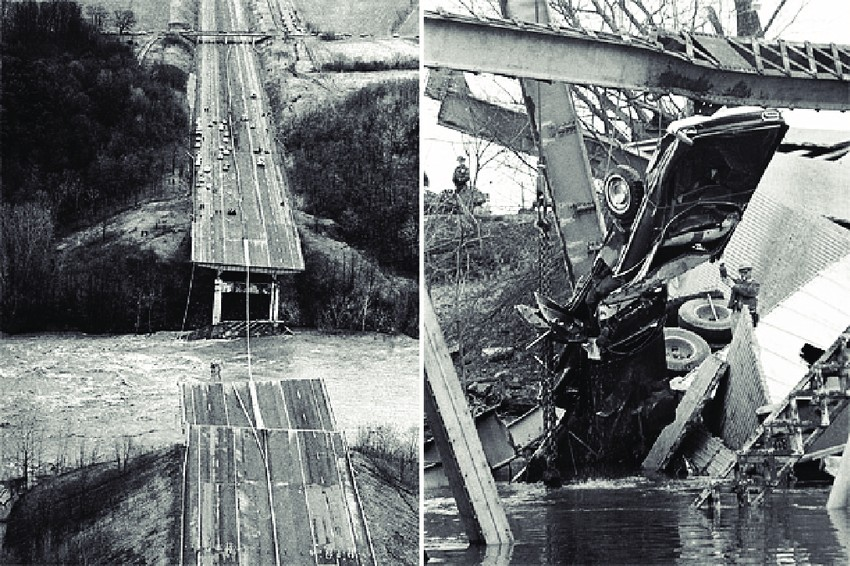 The Silver Bridge after its collapse in 1967. (Photos: ResearchGate.net)
