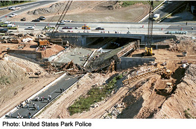 A bridge carrying MD 198 collapsed onto the Baltimore-Washington Parkway in 1989. (Photo: United States Park Police)
