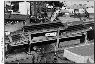 An aerial view of part of the Cypress Street Viaduct after the earthquake. (Photo: Caltrans/Federal Highway Administration)