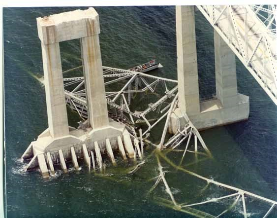 Remnants of the Sunshine Skyway Bridge lie in the waters of Tampa Bay.  (Photo: U.S. District Court - Middle District of Florida)
