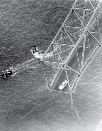 A car hangs over the water following the Sunshine Skyway Bridge collapse in 1980. (Photo: U.S. District Court - Middle District of Florida)