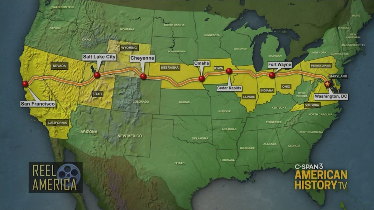 The route of the Transcontinental Convoy as shown on this C-SPAN map.