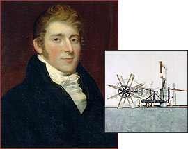 Another portrait of Robert Fulton and an early drawing of a paddleboat steamer. (Image: PBS.org)