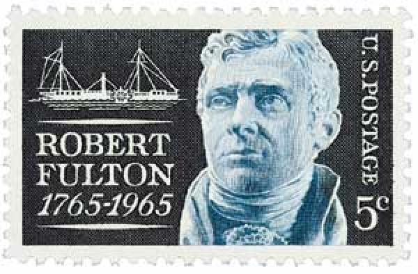 The stamp issued to honor Fulton in 1965. (Image: USPS)