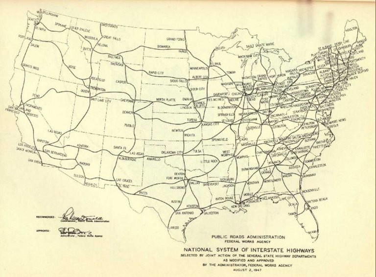 A 1947 map shows a plan for interstate highways. Many of the routes are very similar to those of the Pershing Map, which was created 25 years previously. (Map: Federal Highway Administration)