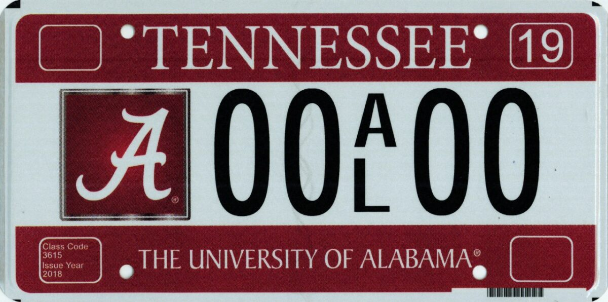 A University of Alabama vanity plate issued by the State of Tennessee. (Photo: Tennessee Department of Revenue)