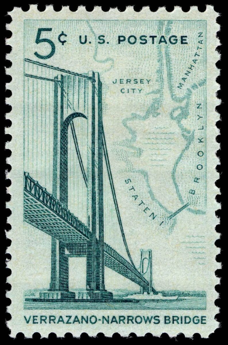 A stamp issued to commemorate the opening of the Verrazzano-Narrows Bridge. (Image: USPS)