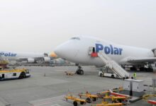 Polar Air Cargo jumbo jets side-by-side at airport being loaded with cargo.