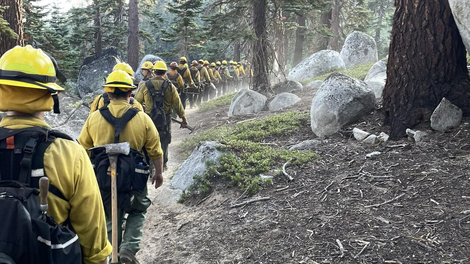 Crew at a portion of the Caldor fire in eastern California.
