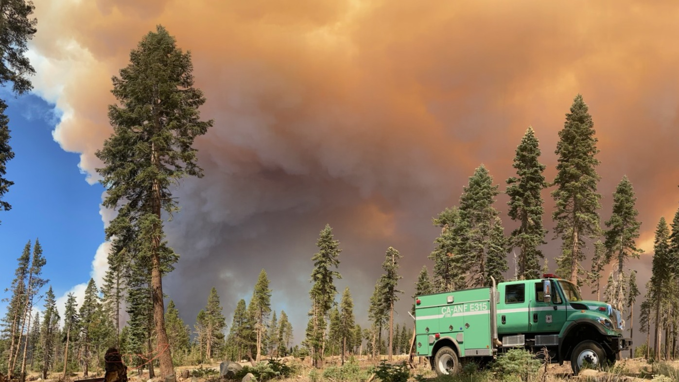 Thick smoke in a section of the Caldor fire in eastern California.