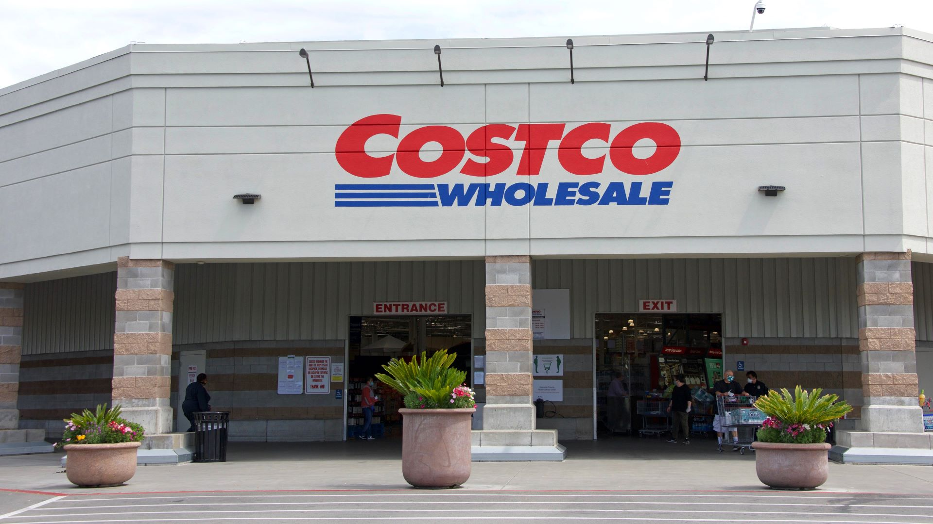 Front entrance to Costco Wholesale store.