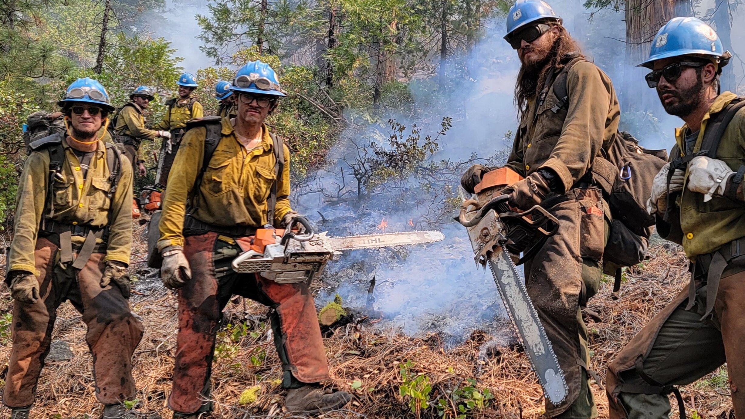 Crews at the Dixie fire in Northern California.