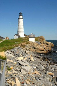 Part of the shoreline of Little Brewster Island with the Boston Light. (Photo: National Park Service)
