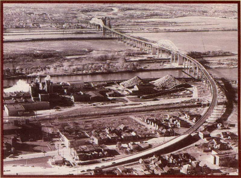 An aerial view shows the approaches to the International Bridge on the U.S. side. (Photo: International Bridge Authority)