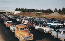 There are many now classic cars in this photo of cars on the turnpike. (Photo: MTA)
