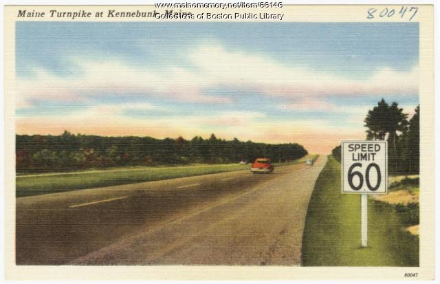 """In 1950, vehicles could travel a """"mile-a-minute"""" on the Maine Turnpike. (Photo: Mainememory.net)"""