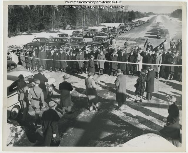 The opening of the first section of the Maine Turnpike - December 13, 1947. (Photo: Mainememory.net)