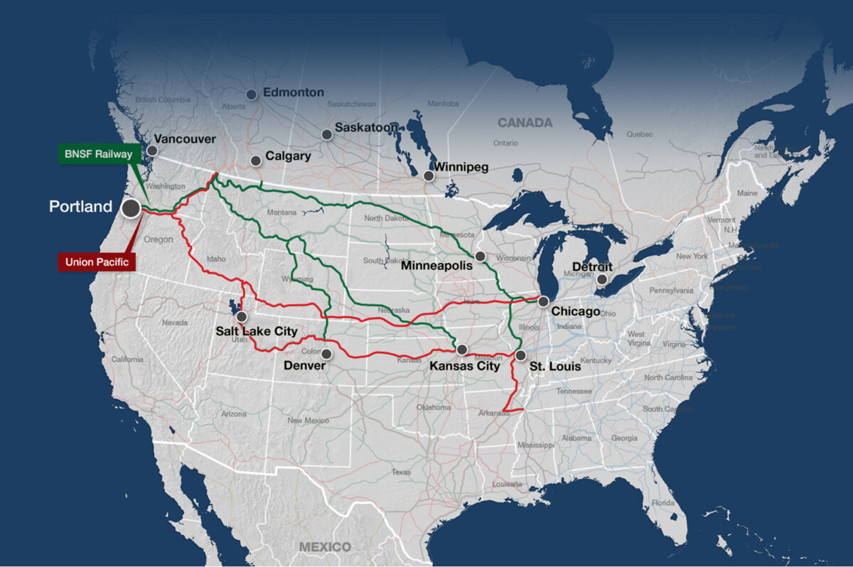 This map shows the rail lines of BNSF and Union Pacific from Portland. (Map: Port of Portland)