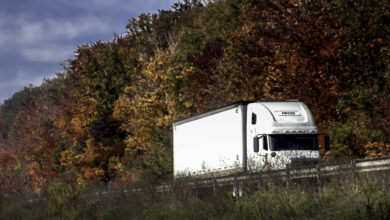 Tractor-trailer on a highway surrounded by fall foliage.