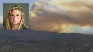 Smoke from the Fawn fire in northern California, with inset of woman accused of setting the fire.