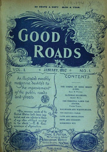 """The cover of the first issue of """"Good roads."""""""