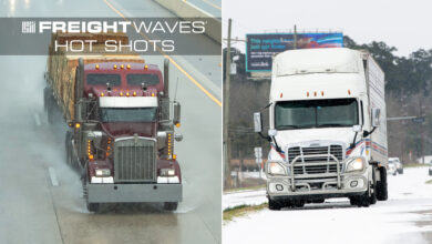 Montage of tractor-trailers in rain and snow.