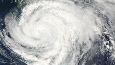 Satellite photo of Hurricane Frances at Florida landfall the day before Labor Day in 2004.