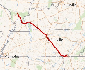 A map of I-24's route. (Image: wikimedia)