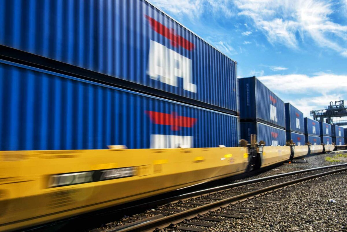 APL double-stack intermodal containers. (Photo: APL Media Library)
