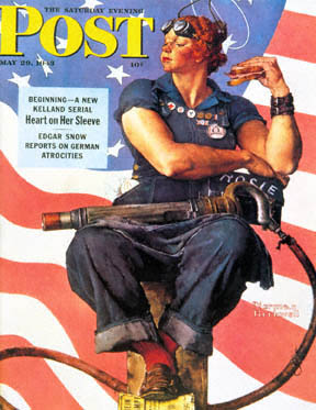 Norman Rockwell's version of Rosie the Riveter on the cover of the Saturday Evening Post. (Image from the author's collection)