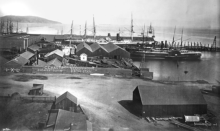 """The Pacific Mail steamships """"Colorado"""" and """"Senator"""" at the Pacific Mail docks off South Beach in San Francisco, c. 1880s.  (Photo: San Francisco National Maritime Museum)"""
